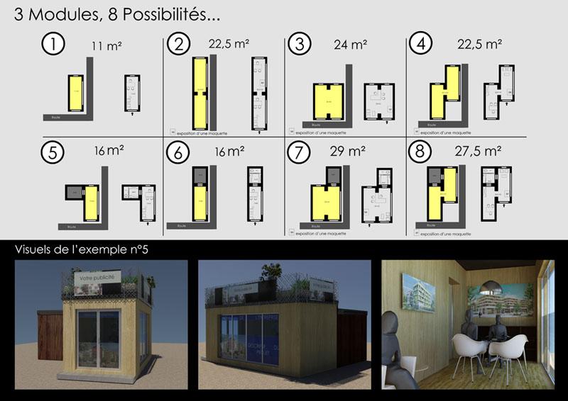 3 modules de bases, 8 possibilités d'agencement, la modularité au service de vos besoins