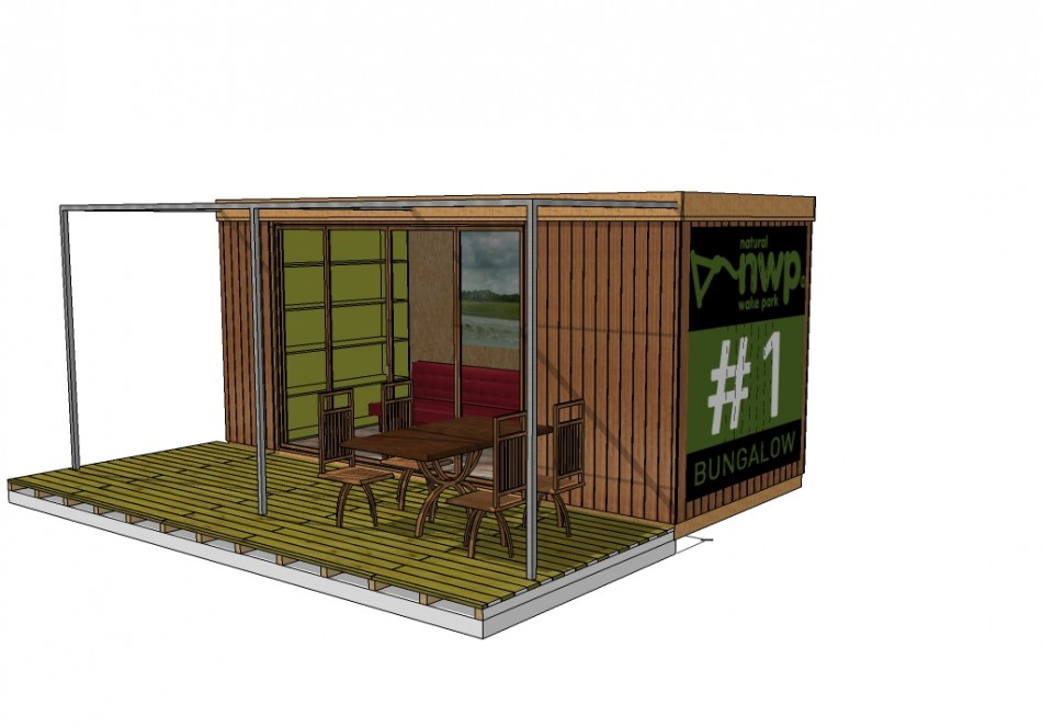 Bungalow en bois pour base de loisir container bois for Container en bois